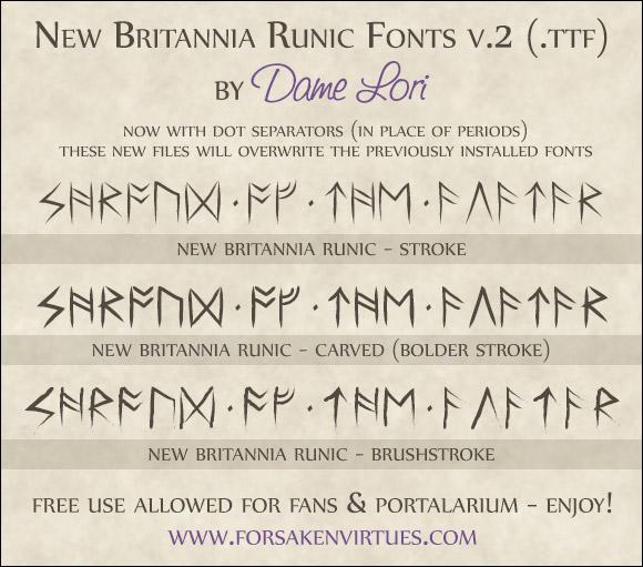 New Britannia Runic Fonts by Dame Lori